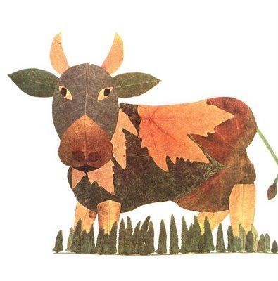 Корова из осенних листьев