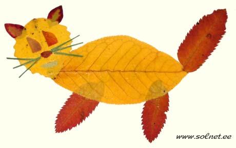 Котик из осенних листьев