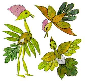 Птички из осенних листьев