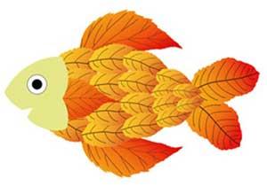 Модульная аппликация из осенних листьев - рыбка