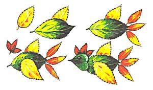 Птичка из осенних листьев