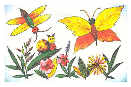 Бабочки из осенних листьев