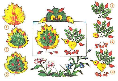 Многоярусная аппликация из осенних листьев
