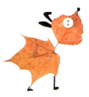 Собачка из осенних листьев