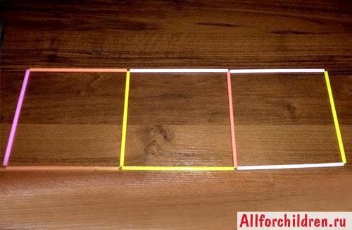 Три грани будущего куба, соединённые между собой