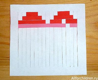 Делаем открытку-валентинку плетёную. Используем полоски разного цвета