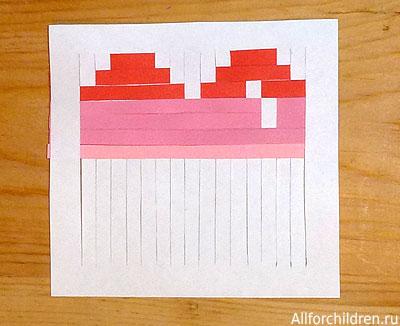 Делаем открытку-валентинку плетёную. Середина процесса