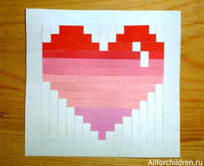 Открытка-валентинка плетёная