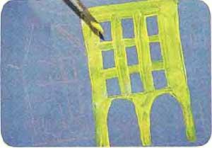 Рисуем город на картоне тремя красками 3