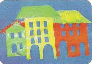 Рисуем город на картоне тремя красками 4