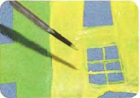 Рисуем город на картоне тремя красками 6