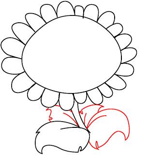 Рисуем Подсолнух из игры Plants vs. Zombies