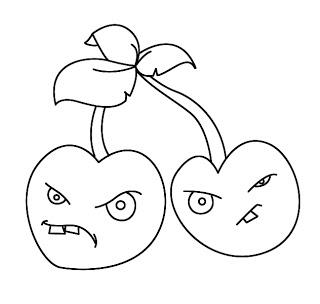 учимся рисовать вишневые бомбы из популярной игры Plants Vs