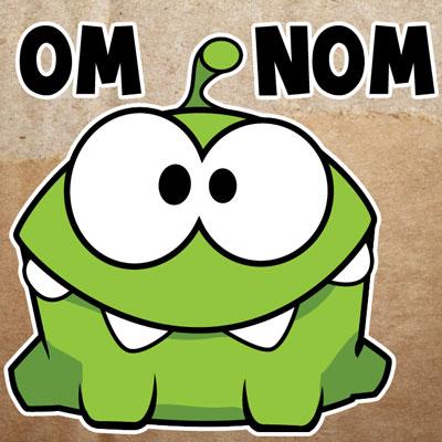 Зеленая зверюшка Om Nom (Ам-Ням)