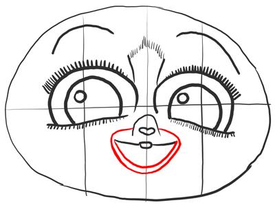 Обводим линию рта Морта