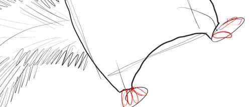 Рисуем пальцы ног Морта