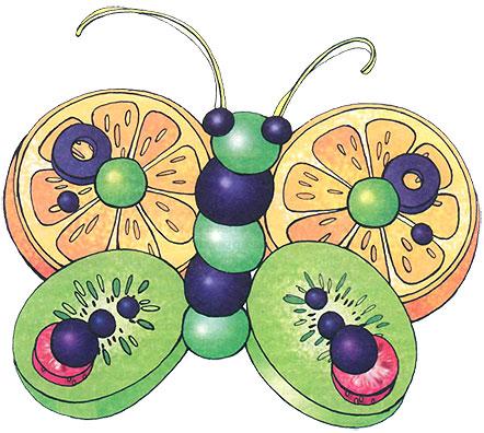 Бабочка из фруктов