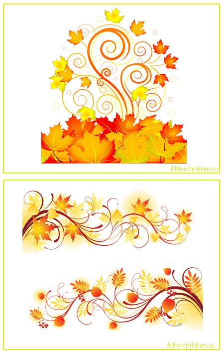 Осенние орнаменты в векторе