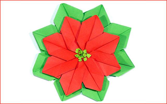 Цветок пуансеттии из бумаги