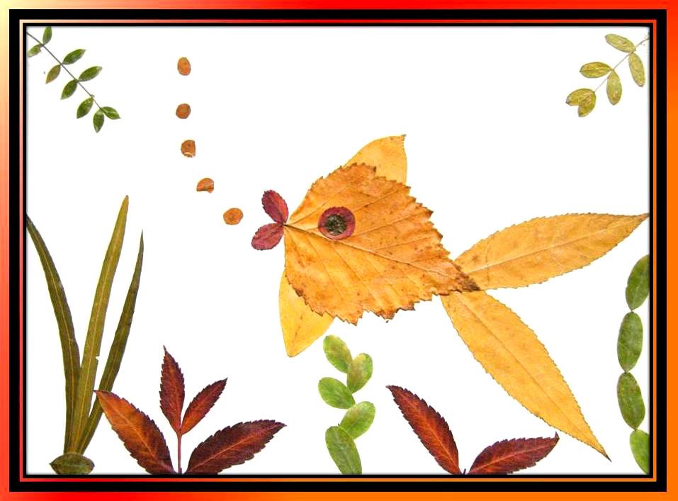 рисунки из листьев животные что